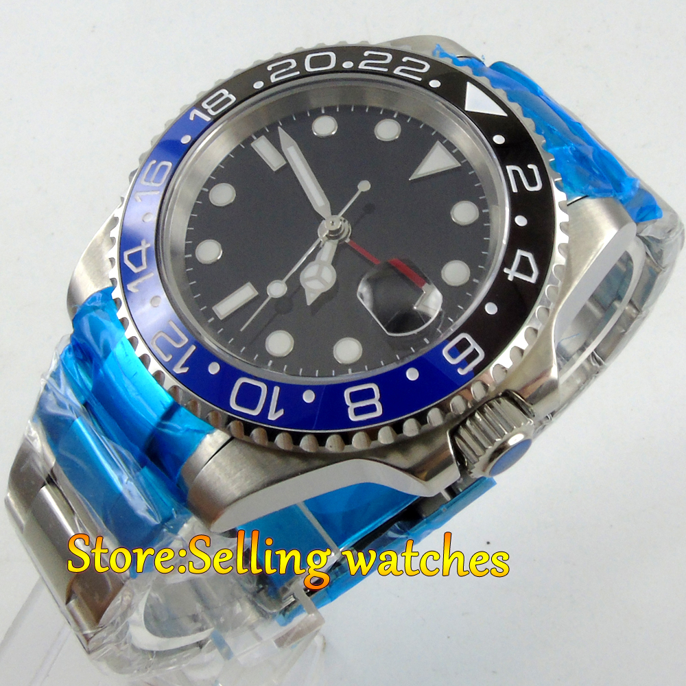 40mm parnis black dial GMT sapphire glass date window automatic mens watch цена