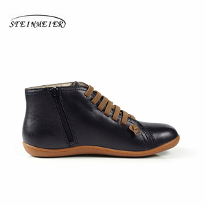 Image 4 - 男性ヴィンテージハンドメイド本革フラットカジュアルブーツ男黒快適な通気性の頭部層牛革ブーツ男性の靴