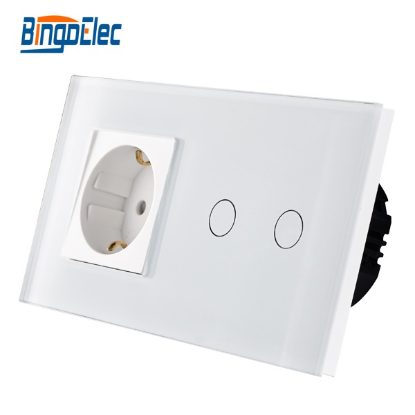Home Improvement Material EU Standard 2gang 1way/2way Remote/Dimmer/Touch Wall Switch and Germany Wall Socket White Glass Panel smart home eu touch switch wireless remote control wall touch switch 3 gang 1 way white crystal glass panel waterproof power