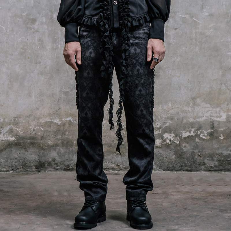 Steampunk Men Victorian Black Silk Pants High Waist Trousers Casual Slim Fit Fashion Embroidery Long Pants