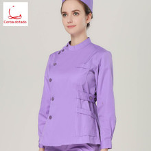 Long-sleeved polyester cotton hand-washing suit with lapel collar brush hand for nurse