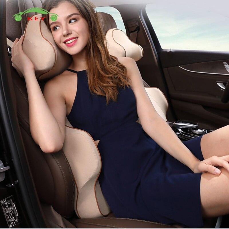 Voiture Support de Siège Mémoire Coton Appui-Tête Coussin Lombaire de Massage Oreiller pour Mitsubishi Hyundai Ford Chrysler Jeep BMW Style De Voiture