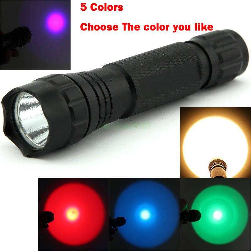 501B Yellow/Green/Red/Blue/UV LED Light 300 Lumen XPE Lanterna Portable Flashlight Torch For Outdoor Hunting Tactical Flashlight wholesale 2pcs lot 18w led underground light stainless steel blue green red yellow for private garden spotlight led luminaria