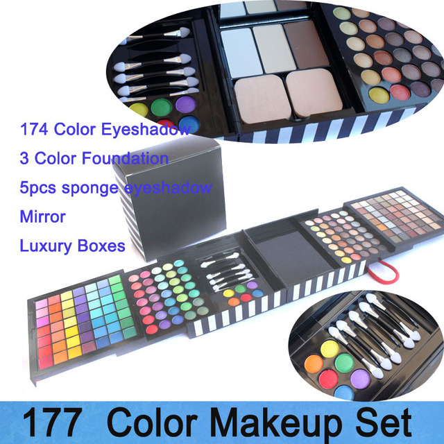 Free shipping! Profession 177 color Eyeshadow/ Blush/ foundation palette with mirror and eyeshadow brush cosmetic set