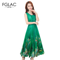 FGLAC New Arrivals Women Dress Fashion Casual Sleeveless Print Chiffon Dress Bohemian Beach Summer Dress Plus