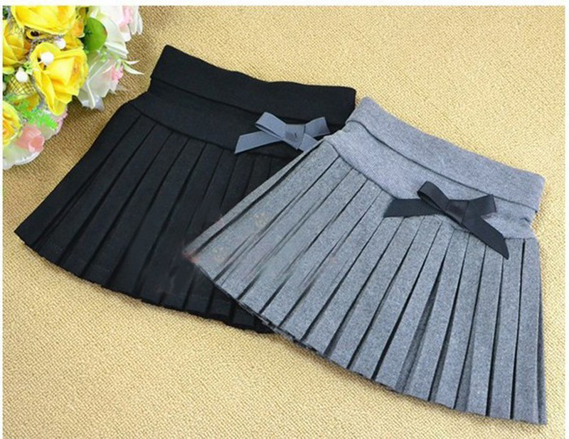 New-2017-Toddler-girls-SpringAutumnwinter-clothing-girls-bust-skirt-thin-woolen-pleated-skirt-blackgray-3T12-wholesale-1