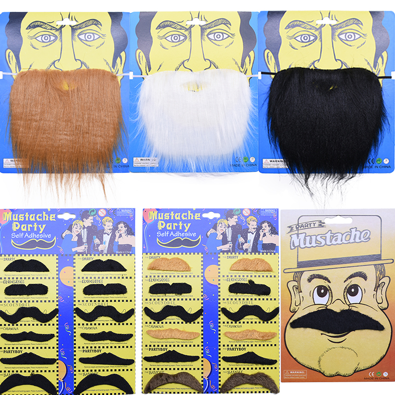 Funny Halloween Cosplay Pirate Party Fake Beard Costume Party Mustache Decor Fake Mustache For Kids Adult Decoration Photo Props