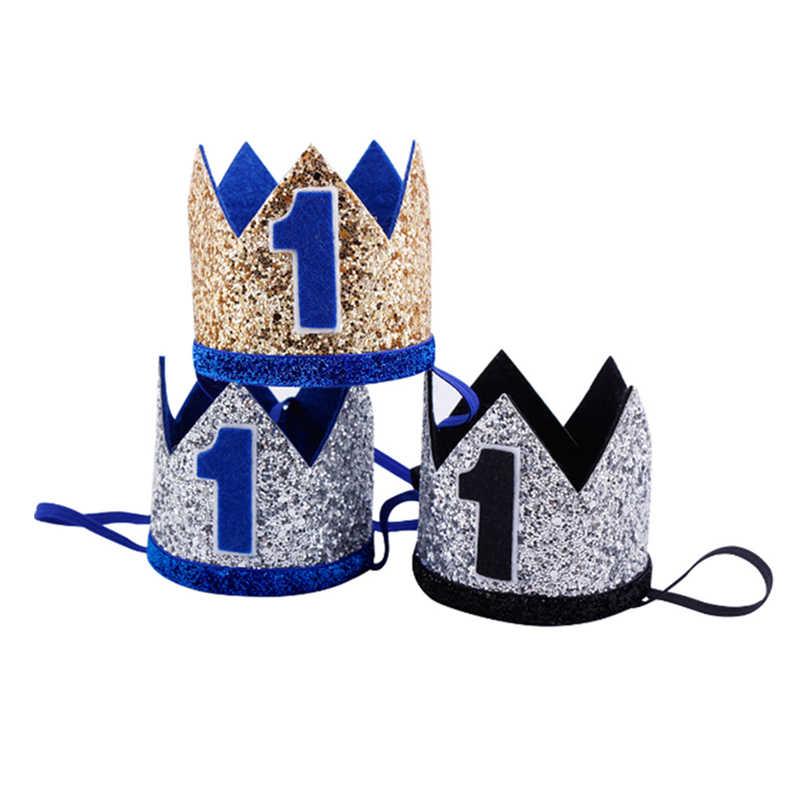 Niño azul plata Primer Cumpleaños sombrero chica oro rosa Priness corona  número 1st 2 3 años 752c0ba001d