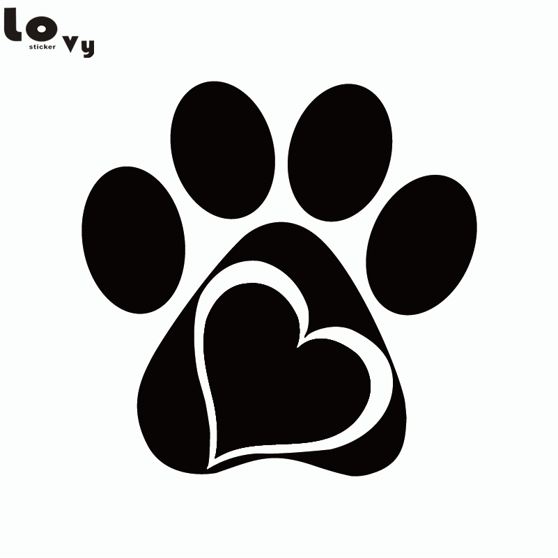 Creative Paw Heart Vinyl Wall Sticker Cartoon Animal Adopt