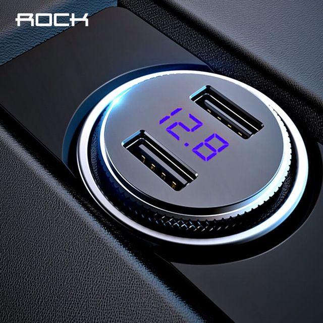 ROCK Mini cargador de coche Dual USB pantalla LED Universal 3.4A tableta de teléfono móvil cargador Usb de carga rápida para coche 2 adaptador Usb