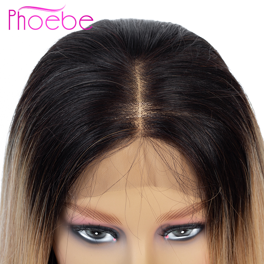 Phoebe 4x4 Ombre Blonde Lace Closure Wig 1B 27 Ombre Lace Closure Human Hair Wigs For