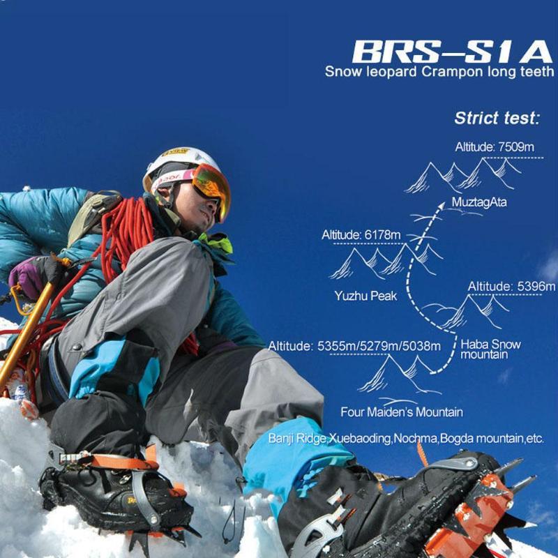 BRS-S1A catorce dientes incluido crampones profesional de acero inoxidable agarre hielo de senderismo escalada equipo kits de viaje - 3