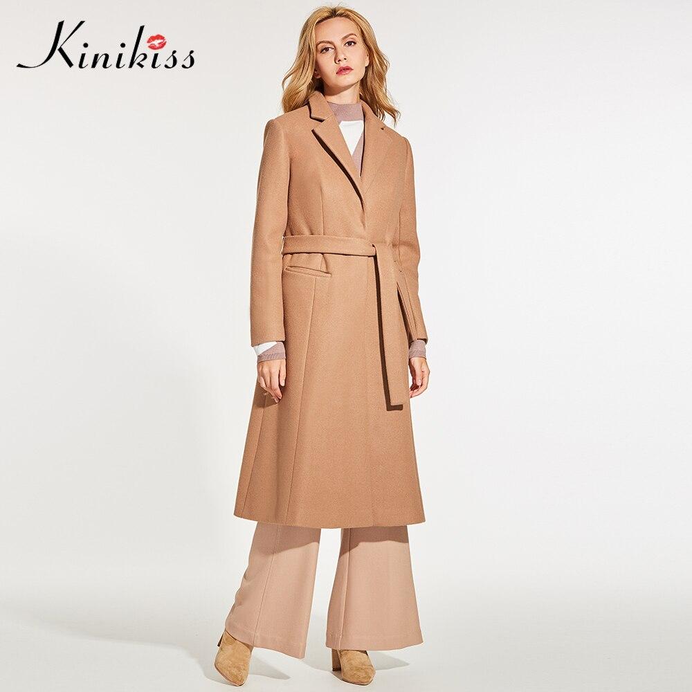 Kinikiss Для женщин верблюд элегантный пальто зимней моды лацканы шерстяной пояс смеси Пальто для будущих мам верхняя одежда работы офисные дл...