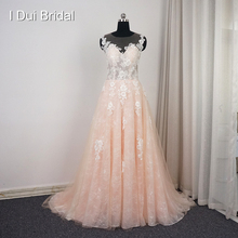I DUI Bridal Illusion Back Lace Blush Wedding Dress A line