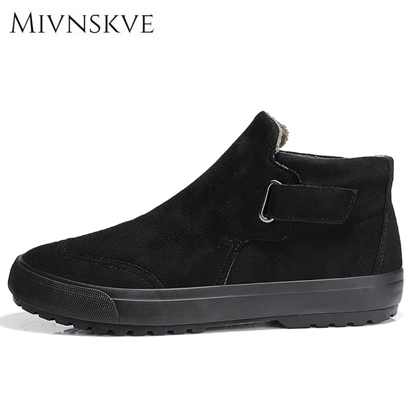 цены MIVNSKVE 2017 New Winter Casual Men Shoes Lace-up Breathable Faux Suede Snow Boots Flat With Fur Warm High Top Leather Shoes