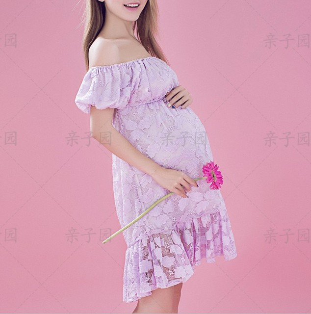 Purple Maternity knee-length mini dresses pregnant women night party dress photography props clothes baby shower lace dress