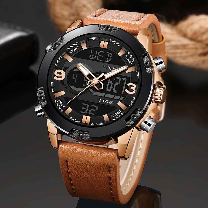 LIGE New Mens Watches Top Luxury Brand Men Leather Sports Watches Men's LED Digital Quartz Clock Waterproof Military Wrist Watch