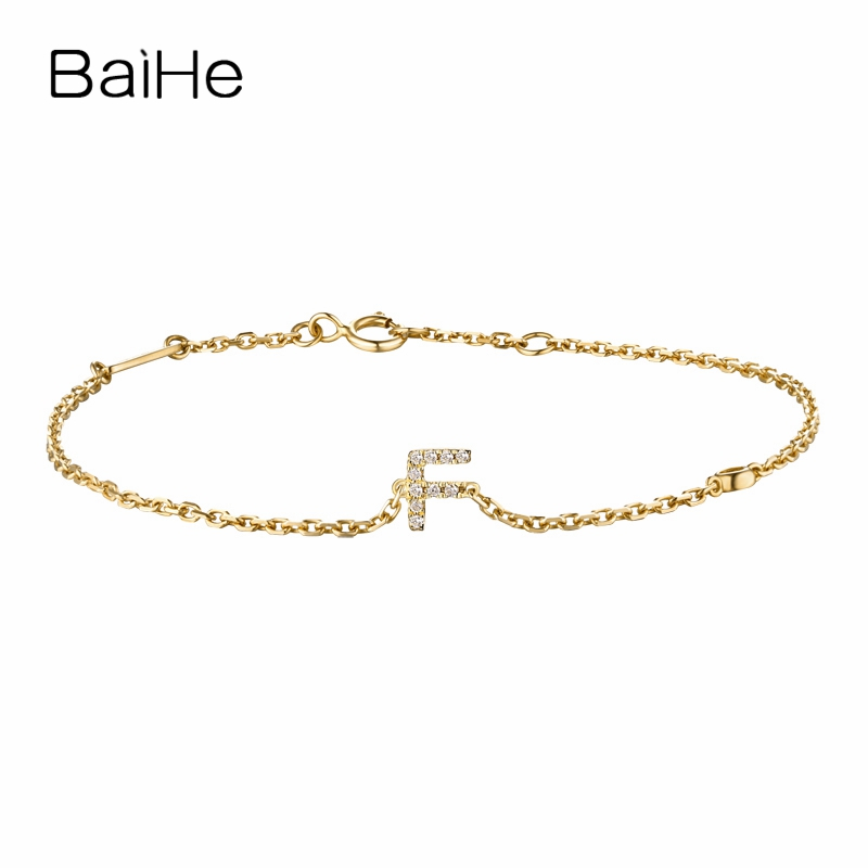 BAIHE Solid 18K Yellow Gold(AU750) Round Full CUT Genuine Natural Diamonds Engagement Gift Trendy Fine Jewelry Fashion Bracelet baihe solid 18k yellow gold au750 engagement