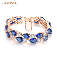 New Trendy Blue Cubic Zircon Wedding Bracelet For Women Fashion Rose Gold Color Jewelry Bracelets Bangles