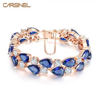 CARSINEL New Trendi Biru Cubic Zircon Pernikahan Gelang untuk Wanita Mode Rose Gold Warna Gelang & Bangles BR0005