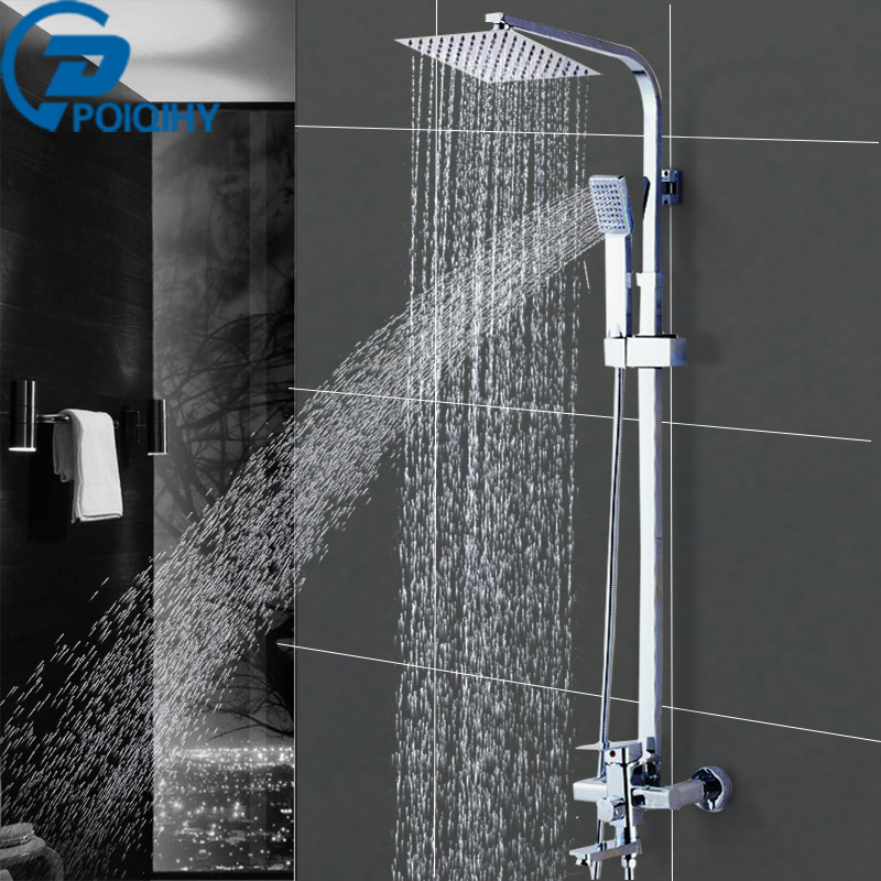 Wall Mounted Shower Faucet Bathroom Rainfall Shower System Set Faucet Tub With Handheld Sprayer Bathroom Mixer Tap Chrome poiqihy wall mounted chrome shower faucet bathroom rainfall shower set faucet tub with handheld sprayer bathroom mixer tap