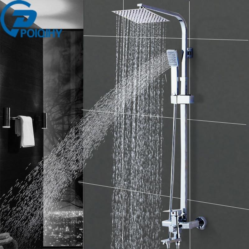 Wall Mounted Shower Faucet Bathroom Rainfall Shower System Set Faucet Tub With Handheld Sprayer Bathroom Mixer Tap Chrome стоимость
