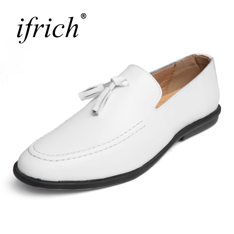 Ifrich Genuine Leather Brand Sneakers for Men Loafers Slip on Black Male Cow Leather Shoes Comfortable Man Designer Shoes top brand high quality genuine leather casual men shoes cow suede comfortable loafers soft breathable shoes men flats warm