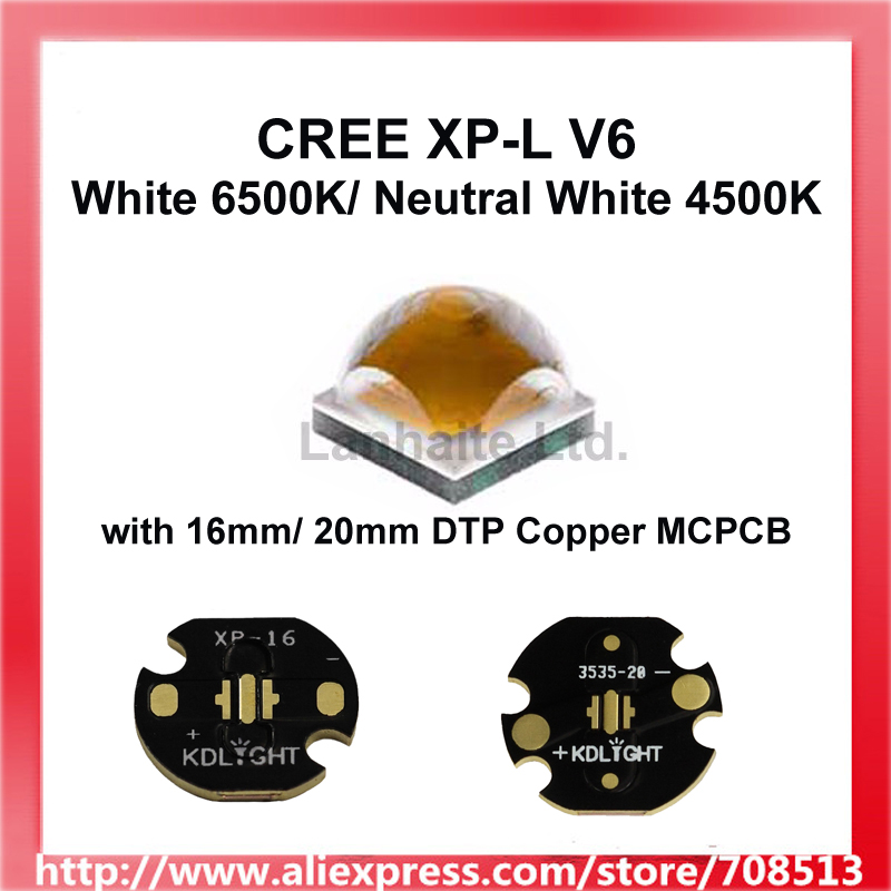 Cree XP-L V6 Neutral White 4500K / 6500K LED Emitter With 16mm / 20mm Copper  Base (1 Pc)