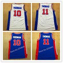 1c775fa99e5 2019 New Mens  10 Dennis Rodman  11 Isiah Thomas Throwback Basketball Jersey  US Size S-XXL