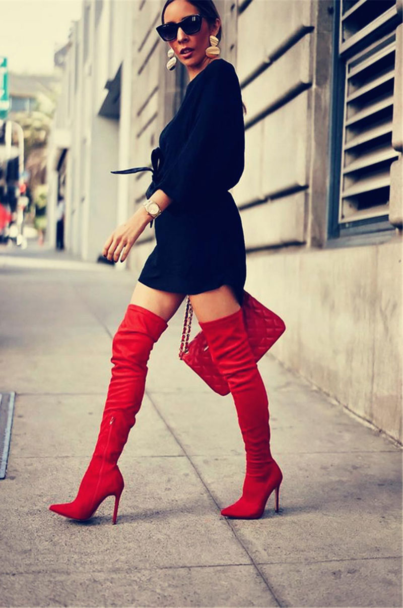 Fanyuan New faux Suede Women Over The Knee Boots Lace Up Sexy High Heels Women Shoes Lace Up Winter Boots Warm Size 31-43