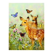 Sika deer Butterfly Diamond Painting animal Round Full Drill 5D Nouveaute DIY Mosaic Embroidery Cross Stitch home decor gifts