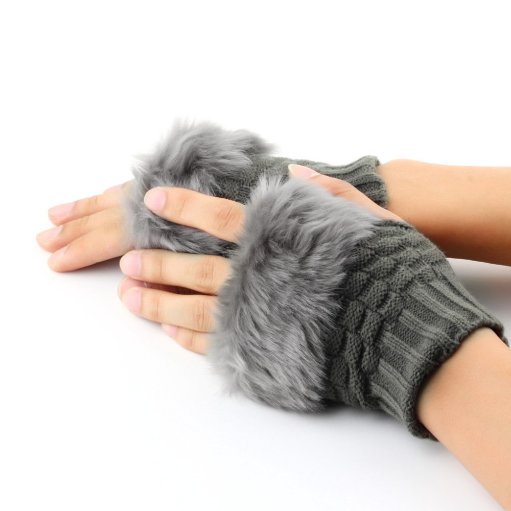 Women Fingerless Gloves Cute Faux Rabbit Fur Knitted Gloves Female Winter Knitting Warmer Wrist Hand Gloves Mitten