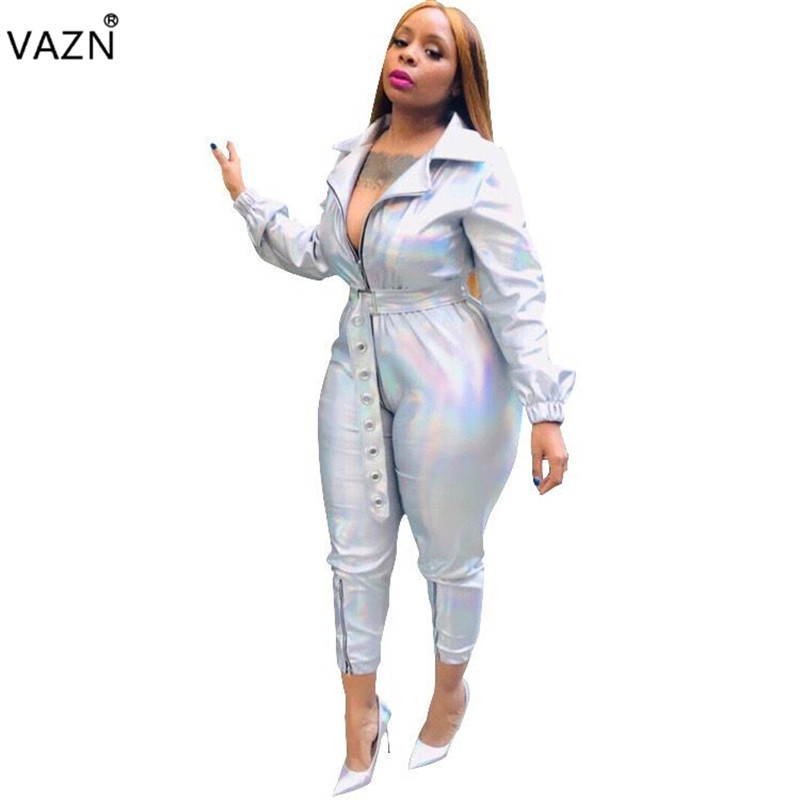 VAZN Autumn Hot 2018 Famous Brand Casual Women Solid Deep V-Neck Full Sleeve   Jumpsuits   Ladies Sashes Hollow Out   Jumpsuit   MOF5049