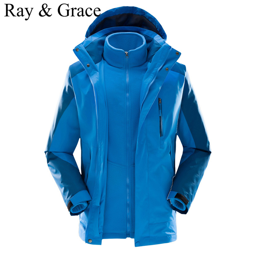 New Winter Men Waterproof 3 in 1 Hiking Jacket Windproof Blue Softshell Camping Outdoor Coats Windbreaker  Hunting Clothing new arrival autumn and winter 2017 outdoor softshell long sleeves solid color zipper pocket sports windbreaker men 150