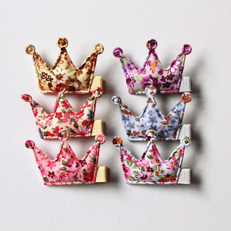 6 Colors 24pcs/lot Crown Baby Girls Hair Accessories Crown Hair Clips for Kids Wholesale Princess Gift Party Headwear Free Ship