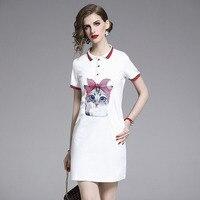 Cartoon Cat Print Women Summer Dress T shirt Dress High Twist Office Lady Short Turn down Collar Women Dress 2019 Fashion