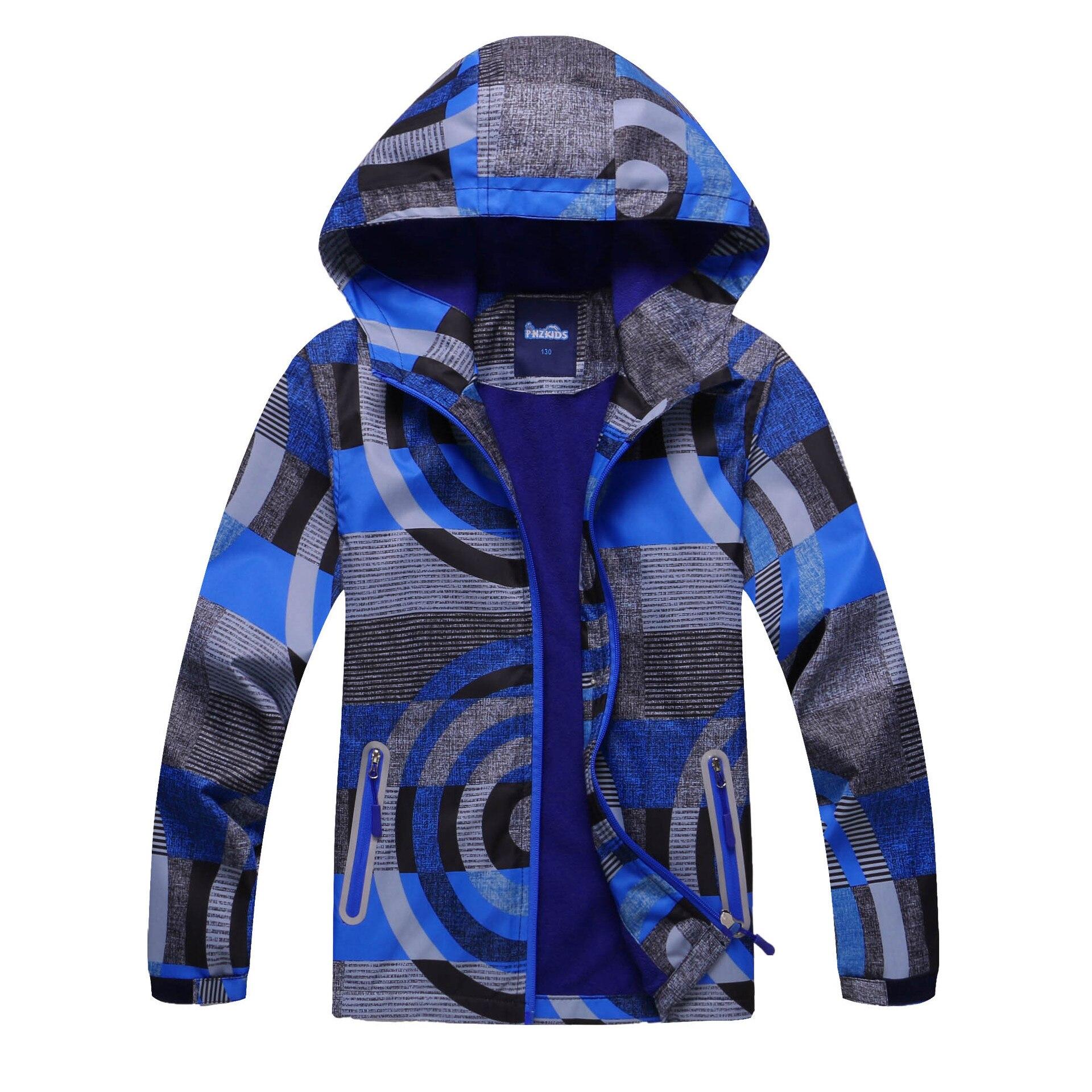 Breathable Hooded Coat Cardigan Waterproof Windbreaker for Kids 3-12years Casual Sportswear Fleece Outerwear New Jacket for Boys