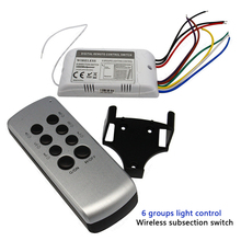 цена на High voltage 110V 220V 4 6 channel remote switch controller 1000W/CH LED wireless digital subsection remote control