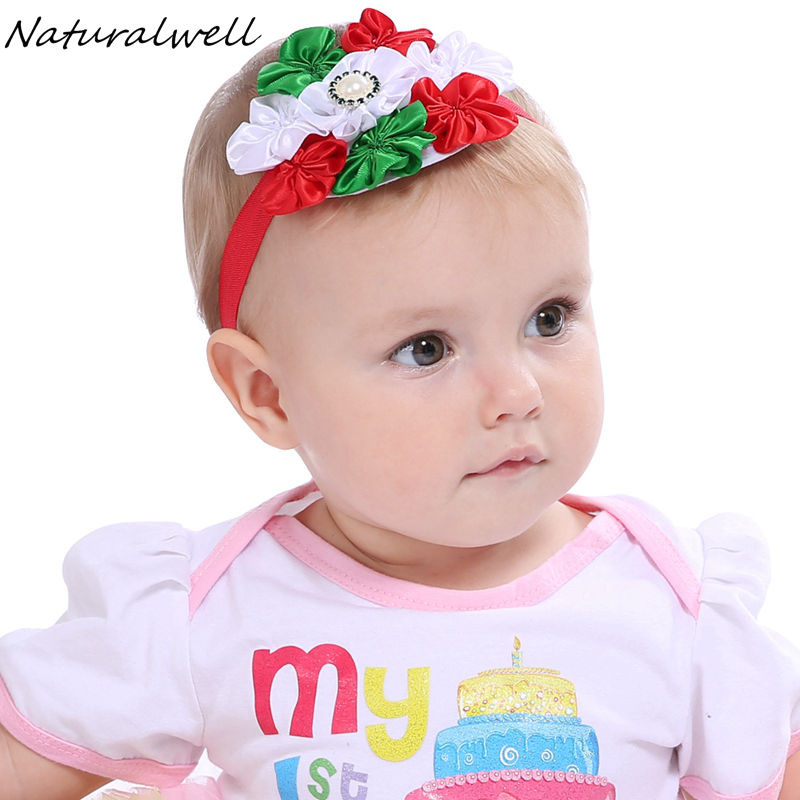 Naturalwell Fashion Christmas Headband Children Kids Baby Girls Pearl Diamond Ribbon Flowers Headbands Head Accessories HB541 In Hair From