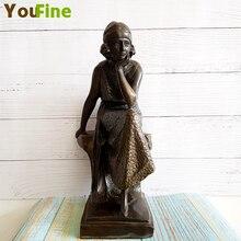 Bronze casting statue female dancer sculpture brass bronze ballroom decoration home interior art