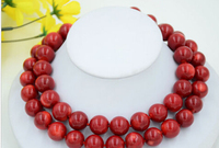 huij 004330 AA++ Real 34 round red coral bead necklace discount 40%