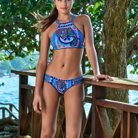 Printed Bikini Set Swimsuits Halter Biquini Bandage Swimwear Women High Neck Bikinis Beachwear Swimming Bather Two