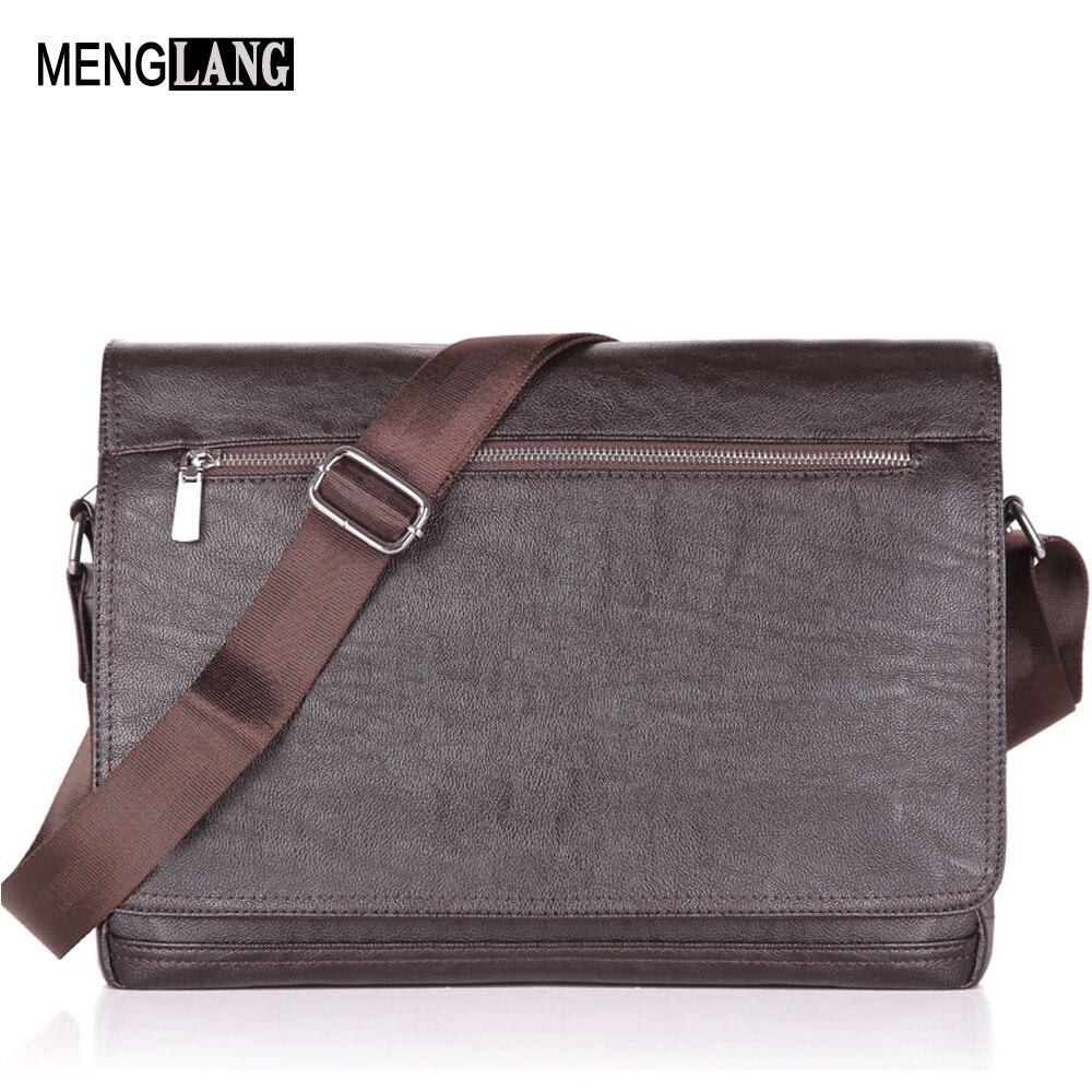 Men Laptop Computer Messenger Bags 15.6 Inch Business Crossbody Bag For Men High Quality Black Soft Leather Shoulder Bag
