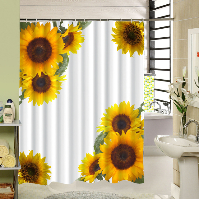 Fabric Polyester Yellow Floral Waterproof Shower Curtain Bathroom Machine Washable