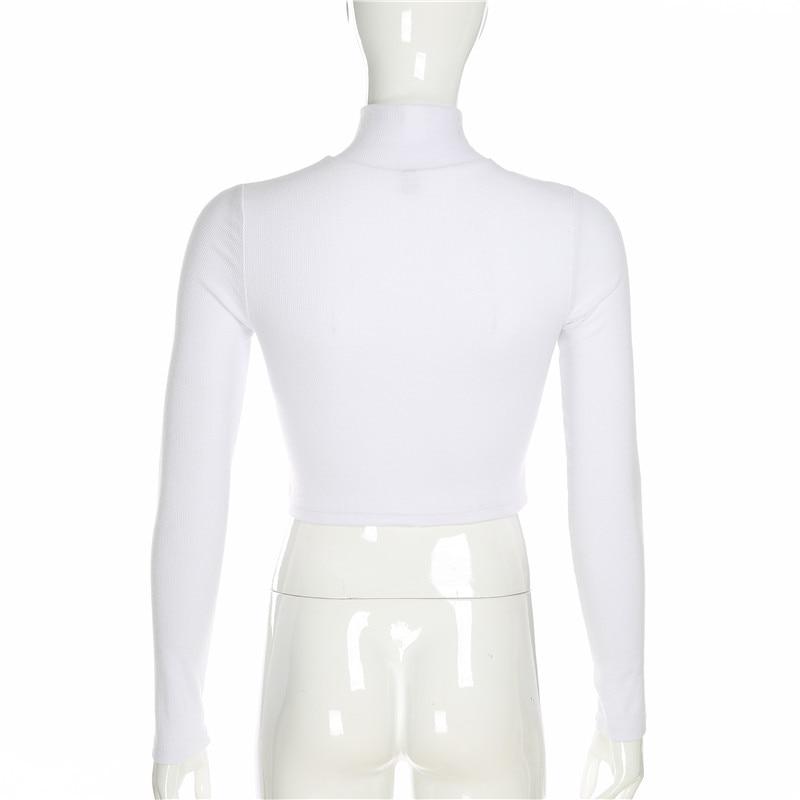 Sweetown/белая однотонная тонкая пикантная женская футболка элегантная детская водолазка с длинными рукавами на молнии обрезная футболка осен...
