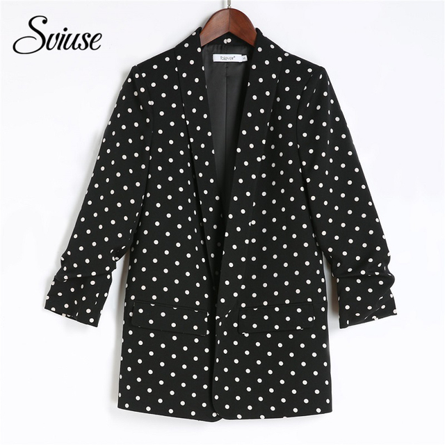 Women Fashion Polka Dot Office Ladies Blazer Female Black White Shawl Collar Fashion Brand Suit Jacket Casual Elegant Jacket 5XL