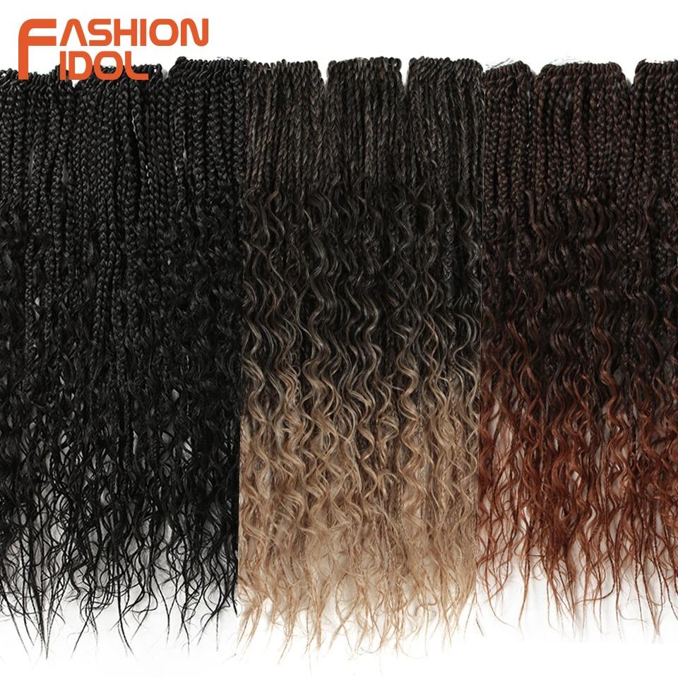 FASHION IDOL Micro Box Braid 24 Inch Crochet Braids Synthetic Hair Curly Crotchet Hair Extensions Ombre Brown Twist Hair Braids