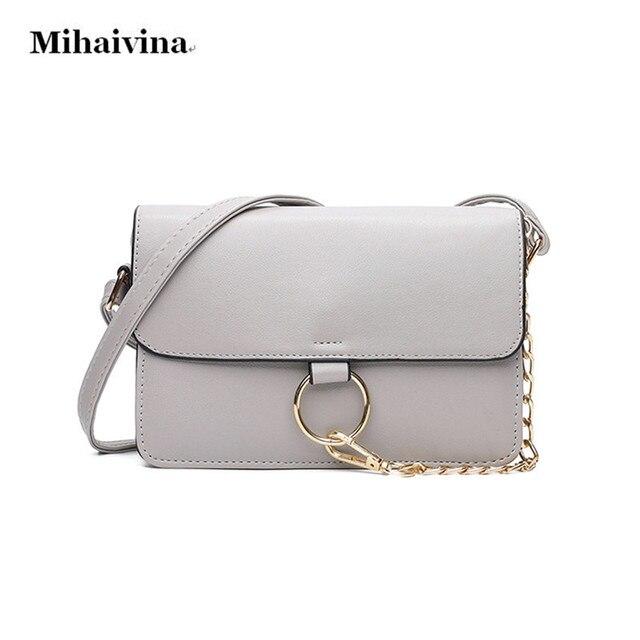 95523993e88fe Mihaivina Frauen Messenger Bags Mode Frauen Tasche Kette Kleine Weibliche  Umhängetaschen Marke Handtasche Sommer Leder Umhängetasche