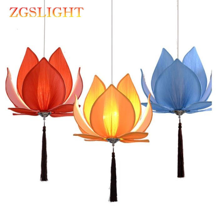 New Chinese Fabric Zen Chandelier Chandelier Classical Lotus Lamp Temple Hall Living Room  Restaurant Lighting