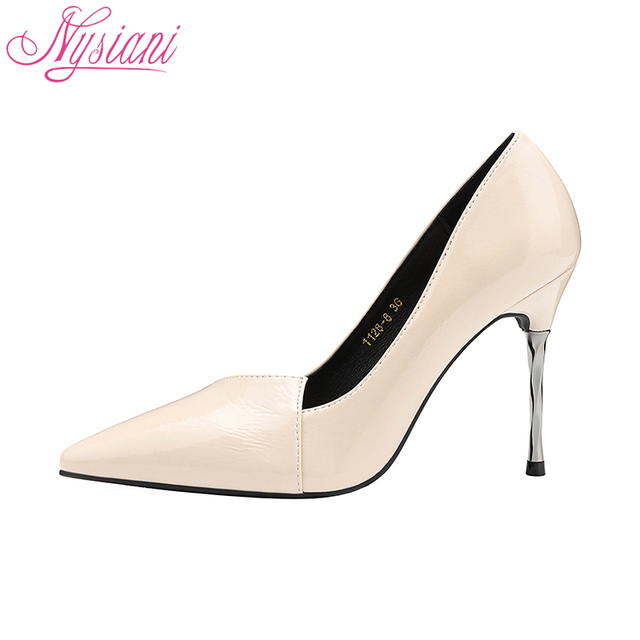 2018 Sexy High Heels Fashion Wedding Party Dress Shoes For Women PU Material Spring Summer Ladies Thin Heels Pumps Shoes Nysiani